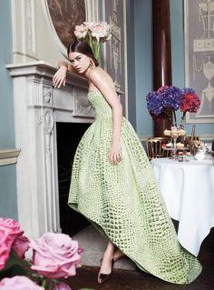 Oscar de la Renta green dress and the most perfect vignette.