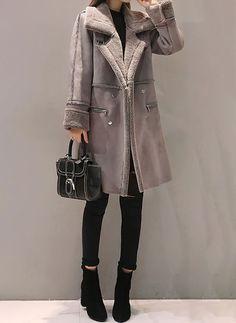 Black Plaid Loose Long Double-Faced Woolen Coat for Elegant Women,XL GAOQQ Overcoat for Women Winter