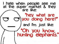 "I hate when people see me at the super market & they are like: ""Hey what are you doing here!"" and I'm just like: ""Oh you know hunting elephants!"""