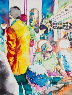 Netta distinzione dell'uomo dell'animale - ecoline on canvas - 40 x 30