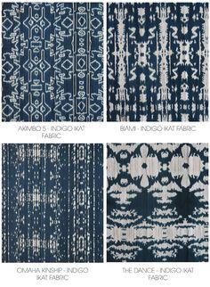 Indigo Ikat Fabric & Frame - horizontal orientation - ESKAYEL