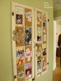 Old Windows turned into a bulletin board , or you could use it as a inspire board for your craft room !!