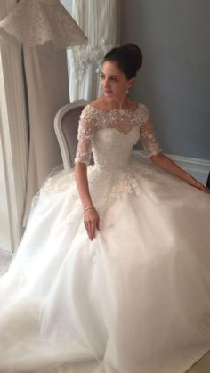 Wedding gown with lace sleeves by Steven Khalil. This gown (& the bride!) are absolutely stunning. She looks like a princess!