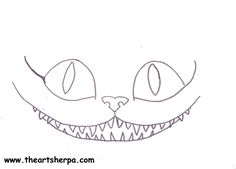Cheshire cat face traceable for Youtube tutorial With The Art Sherpa