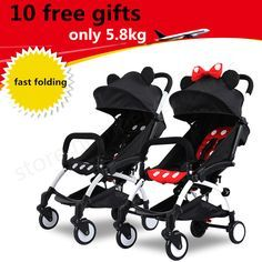 awesome four wheel Ultra Light 10 Gifts Folding Baby Stroller Shock Absorbers Bb Wheel Car Umbrella Troller 30 Colors Accessories