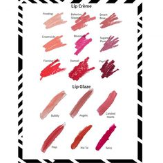 lipstick and gloss swatches