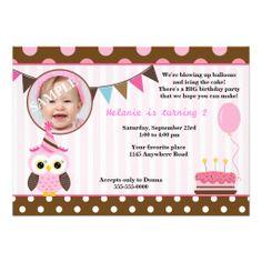 Pink Owl Girls Photo Birthday Card