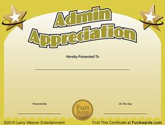 Funny Award Ideas: Administrative Assistant Day - Free Certificate of...