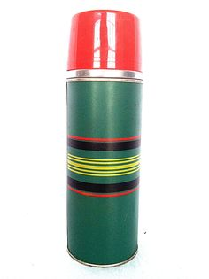 Vintage Cape Cod Vacuum Bottle Aladdin Thermos Green with Stripes 1 pint 16 oz // Collectible //  Retro Camping // Tailgate