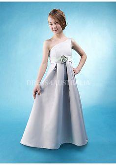 Cheap and Australia A-line One Shoulder Pleated Satin Flower Floor Length Junior Bridesmaid Dresses from Dresses4Australia.com.au