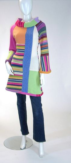 Mod Mondrian Tunic Dress Pastels and Stripes by Brendaabdullah, $169.00