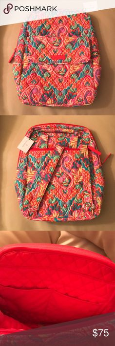 Vera Bradley Backpack -  new! Paisley in paradise Vera Bradley Backpack - Brand new with tags! Pattern is Paisley in Paradise. Front of Backpack has a magnetic close pouch and the back has a zipper. The inside has two pockets. Backpack has adjustable straps! Vera Bradley Bags Backpacks