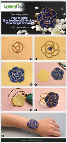 Embroidery Jewelry - How to Make Blue Seed Bead Embroidery Rose Bangle Bracelets