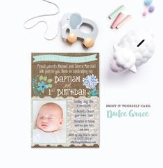 1st birthday and christeningbaptism invitation sample baptism boy baptism 1st birthday invitation diy printable baptism stopboris