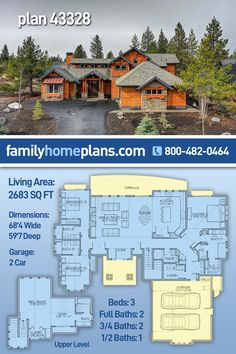 Mountain Style House Plan is now available with interior photography and exterior photos from new construction in a beautiful setting of rugged terrain. #Craftsman elements including stone and cedar shingle siding add character to the elevation. Upon entering, you will appreciate the tall ceilings in the foyer which is brightly lit thanks to the sidelight windows of the solid front door. Honey-colored hardwood floors span the length of the living space to make the open layout more… Cedar Shingle Siding, Cedar Shingles, Family House Plans, House Floor Plans, Sims Building, Building A House, Mountain Style, Mountain Homes, House Plans With Pictures