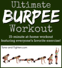 Increase strength, increase endurance, and perfect your burpees with this amazing at-home workout! #workout #fitness from Tone-and-Tighten.com