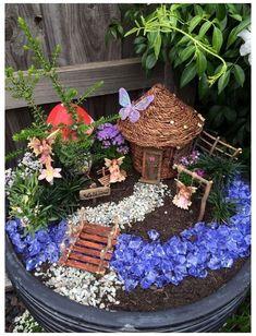 Kids Fairy Garden, Indoor Fairy Gardens, Fairy Garden Houses, Gnome Garden, Miniature Fairy Gardens, Fairy Gardening, Container Gardening, Organic Gardening, Fairy Pots