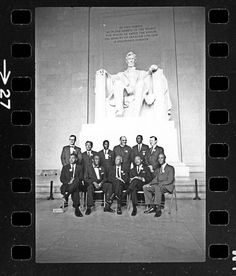March on Washington, 1963 - Before the speeches began, civil rights leaders, including A. Philip Randolph (front row, center) and Martin Luther King, Jr. gathered at the Lincoln Memorial.