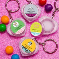 Personalized Heart Lip Balm Key Chain Birthday Favors