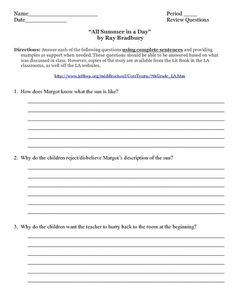Printables American Literature Worksheets rikki tikki tavi video and literature activity tiki all summer in a day by ray bradbury worksheet lesson planet lessonteacher worksheetslevel literatu