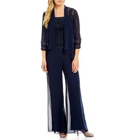 Dressy Pant suits only for women Chiffon Pants, Lace Chiffon, Dressy Pant Suits, Mother Of Groom Outfits, Special Occasion Outfits, Gowns With Sleeves, Striped Jumpsuit, Formal Wear, Party Dresses