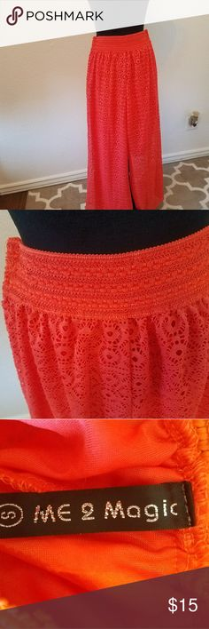 Lace Gaucho lounging pants. Very cute pair of bright Coral lace Gaucho lounging pants. Fully lined with elastic waistband. Cute to wear by the pool. Excellent condition. Pants