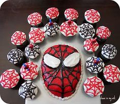 Spiderman cupcakes - I can do this and seems much easier than the cake pan.