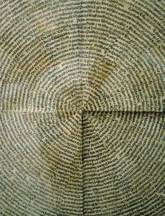 When I first caught sight of the artwork below by Czech artist and poet Jiří Kolář (1914-2002), it reminded me of the growth rings in a tree. It is actually a collage he made of blackletter text in 1966. Although Kolář died nearly 10 years ago, he is still considered one of Czechoslovakia's most significant fine artists and poets of the latter half of the last century. Below are 2 other Kolář collage artworks from the same 2010 Prague exhibit.