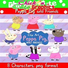 Peppa Pig and friends clip art 8 characters by Chickncutegraphics