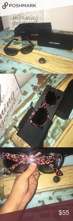 Dolce and Gabbana Sunglasses Pristine and perfect for spring, these lovely glasses come with all D&G accessories shown including dust bag, fully lined case, and box. Treat yourself, worn once! Questions? Ask! Offers welcome! Dolce & Gabbana Accessories Sunglasses