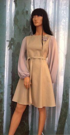 "MinSin, wool dress with chiffon sleeves. ""Vilde"""