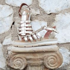 Artemis Gold Stripes Sandals / Genuine Greek High by Twininas
