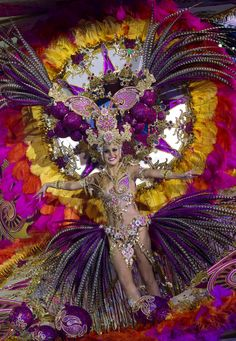 Contestant Guacimara Alfonso performs on stage during the annual carnival queen election gala at Santa Cruz de Tenerife, on the Spanish Canary Island of Tenerife.