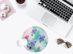 Round Mouse Pad Blue Mousepad Cute Mouse Mat by BlissNhome on Etsy