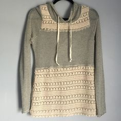 Chance or fate light weight sweatshirt top Gray and white // striped // crocheted patterned stuff on the top and bottom // the top part has some part of it coming apart or what it looks like it is // hood in the back 104 excludes 4 for $20 sale Forever 21 Tops Sweatshirts & Hoodies