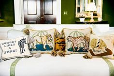 Tory Burch Home Needlepoint Pillows Living With Dogs, Devine Design, Needlepoint Pillows, Celebrity Houses, Find Furniture, Elle Decor, Home Collections, Soft Furnishings, Decorative Accessories