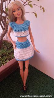 Pink  Crochê: Conjunto com saia para a Barbie. www.pinkcroche.blogspot.com.br