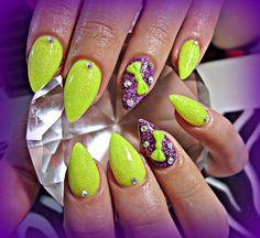 Bright Almonds - Nail Art Gallery