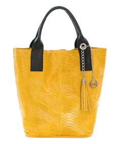 Look at this Mia Tomazzi Yellow Tassel Leather Tote on #zulily today!