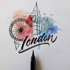 London - Lettering Cities around the loworld with a Brushpen by David Milan Stylo Art, Brush Pen Art, Arte Sketchbook, Typography Inspiration, Grafik Design, Art Design, Lettering Design, Word Art, Watercolor Art