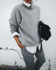 This is a great alternative look for office-wear in the Winter, very androgynous and very cool.