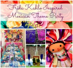 Frida Kahlo Inspired Mexican Theme Party Not pictured but can order: Frida's Paintings Papel Picado, Custom Wedding Papel Picado Banners, Banderitas Flags on a stick, Flores de Papel, etc here: http://casabonampak.com/weddingboda.html