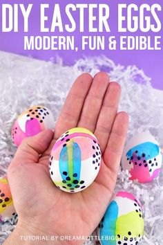 Looking for a fun, bold and modern way to dye Easter eggs? This DIY food safe Easter egg paint is made with only 2 ingredients! These abstract Easter eggs might look like pieces of art but they're completely edible! Great for DIY crafts for a fun Easter project for kids. #easter #holidays #diy #diycrafts