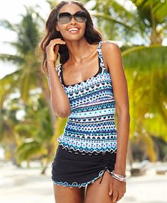 Profile by Gottex Printed Ruffle-Trim Tankini Top & Slit Swim Skirt Only available in size 8
