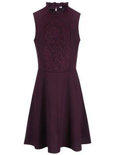 Vínové šaty s čipkovým detailom Dorothy Perkins