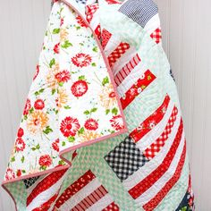 Stars and Stripes Quilt - Lap Quilt - Ready-to-Ship - Bonnie and Camille Striped Quilt, Whimsical, Freedom, Porch Garden, Stripes, Quilts, Blanket, Stars, Sewing
