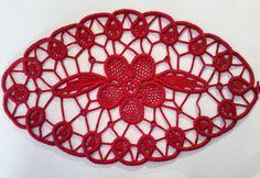 "Doily Romanian Point Lace Crochet Doily RED Floral Pattern, 13"" x 8""  #26"
