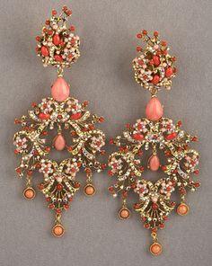 Jose-Maria Barrera Peach náušnice lustr