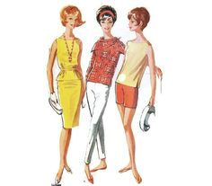 1960s Misses Sports Separates Blouse Pants Shorts Skirt Pattern McCalls 6207 B38 Sz 18 Anti Fashion, Fitted Skirt, Mccalls Patterns, Hippie Outfits, Twiggy, Long Pants, Separates, Hippie Style, Vintage Patterns