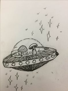 Space mushrooms, inspired by a conversation in biology class.  Fine porous point pen (Pentel Finto), and graphite.